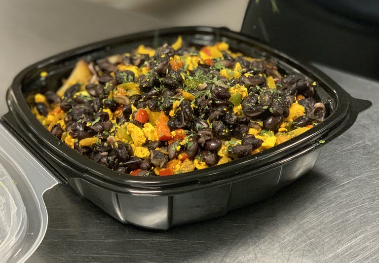 a pan filled with food