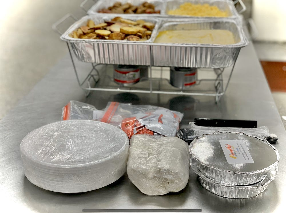 a tray of food on a table