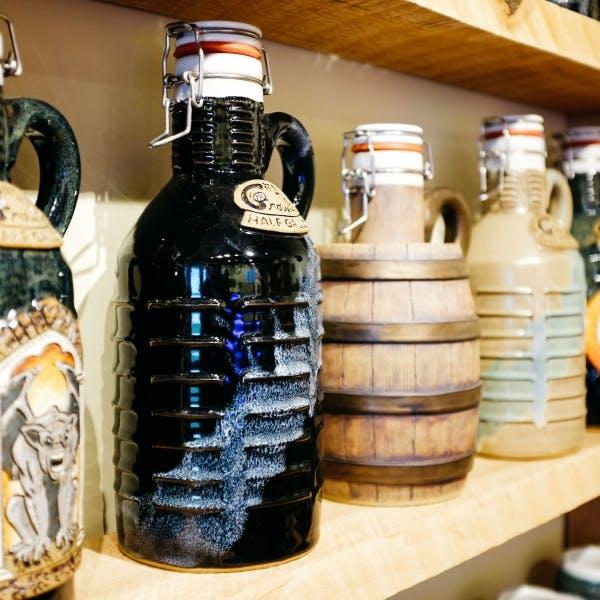 several bottles on a shelf