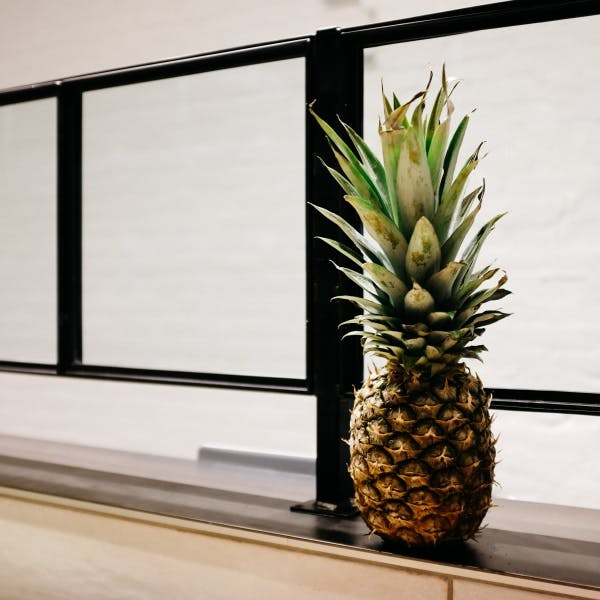 a pineapple in front of a window