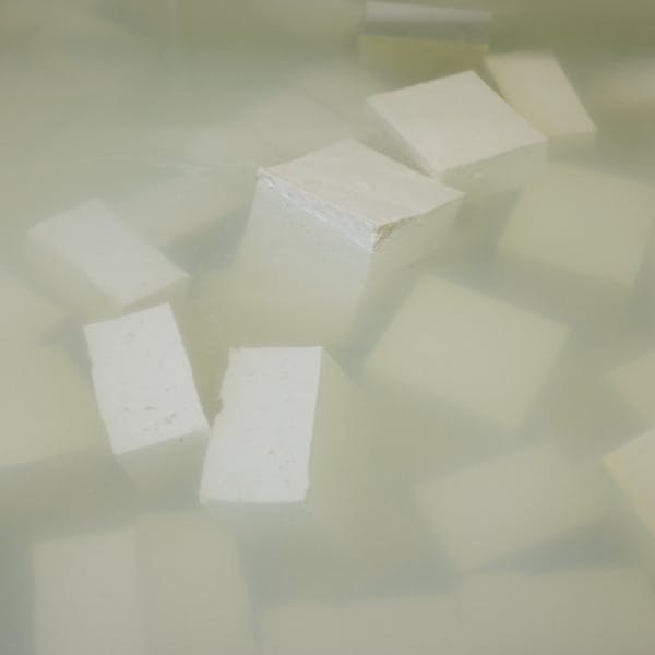 close up of several white cubes in water
