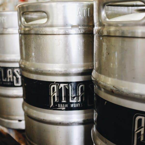 stacked beer kegs