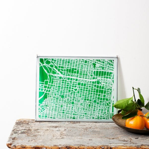 a green board on a table