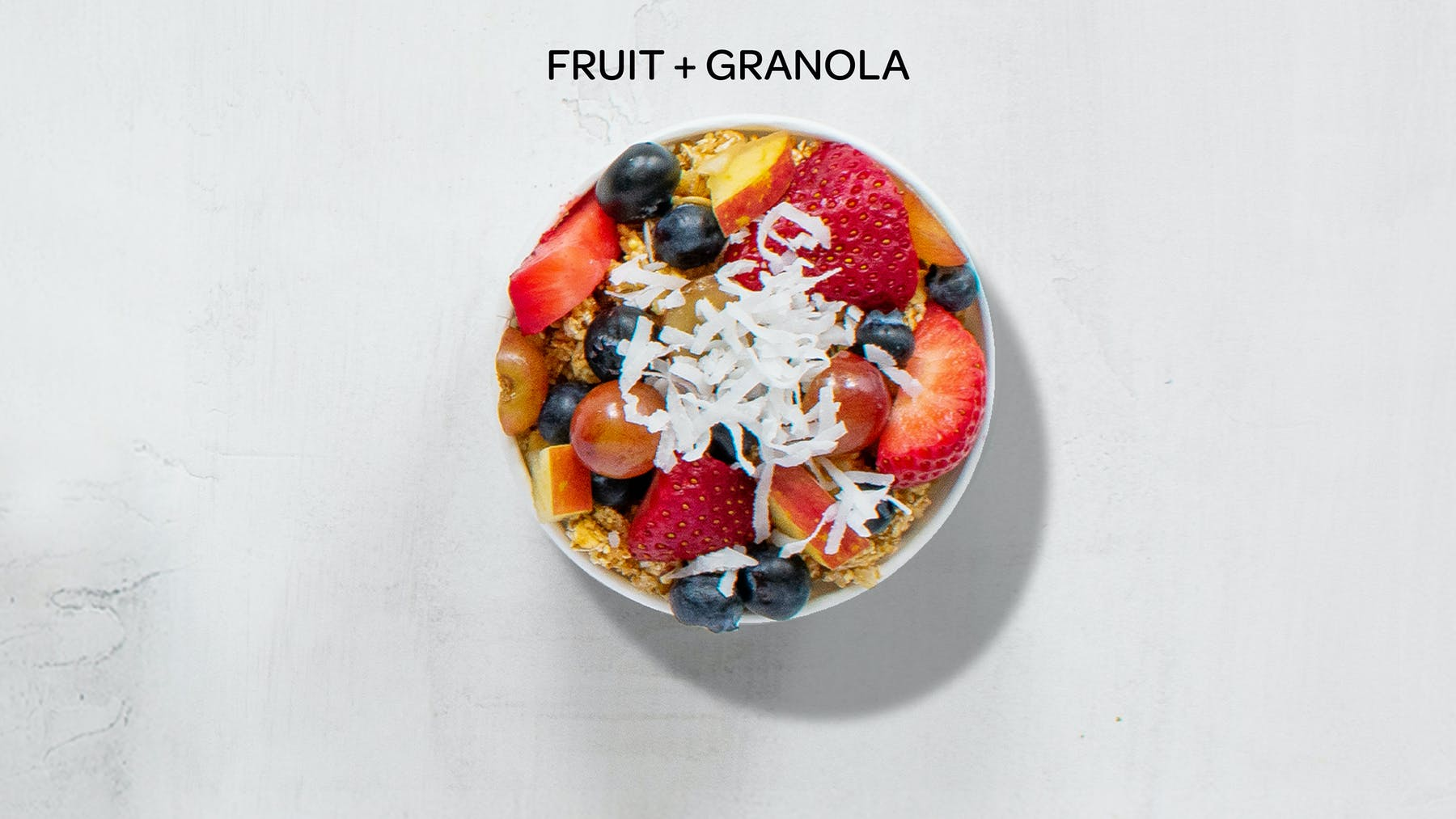 an overhead view of the fruit and granola honeybar