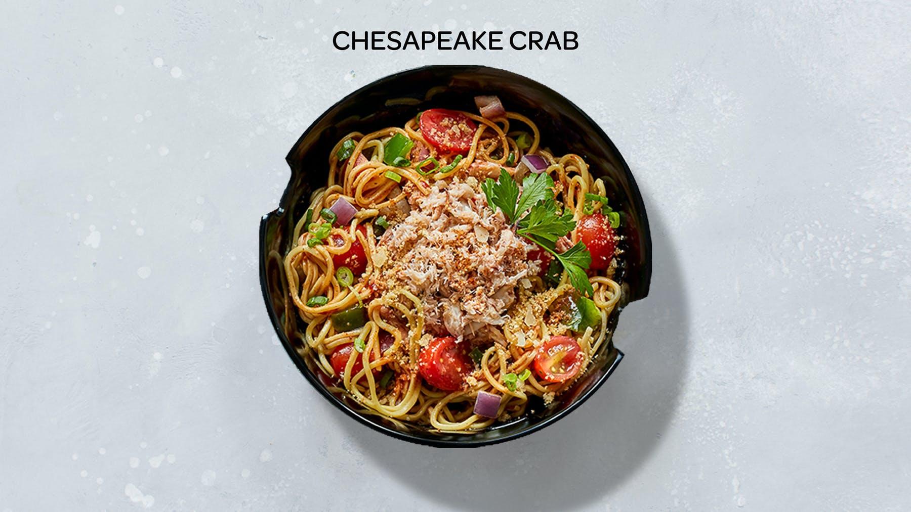a bowl of Chesapeake crab stir-fry
