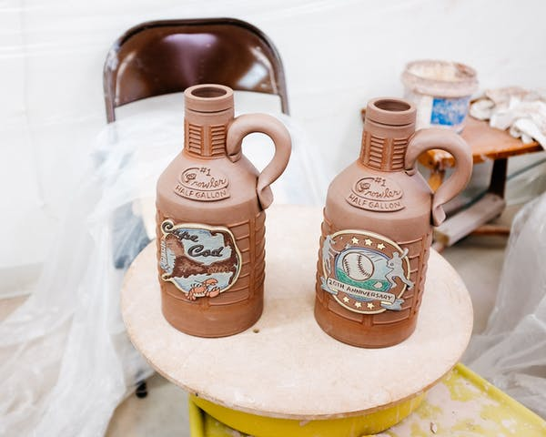 two bottles on a round table