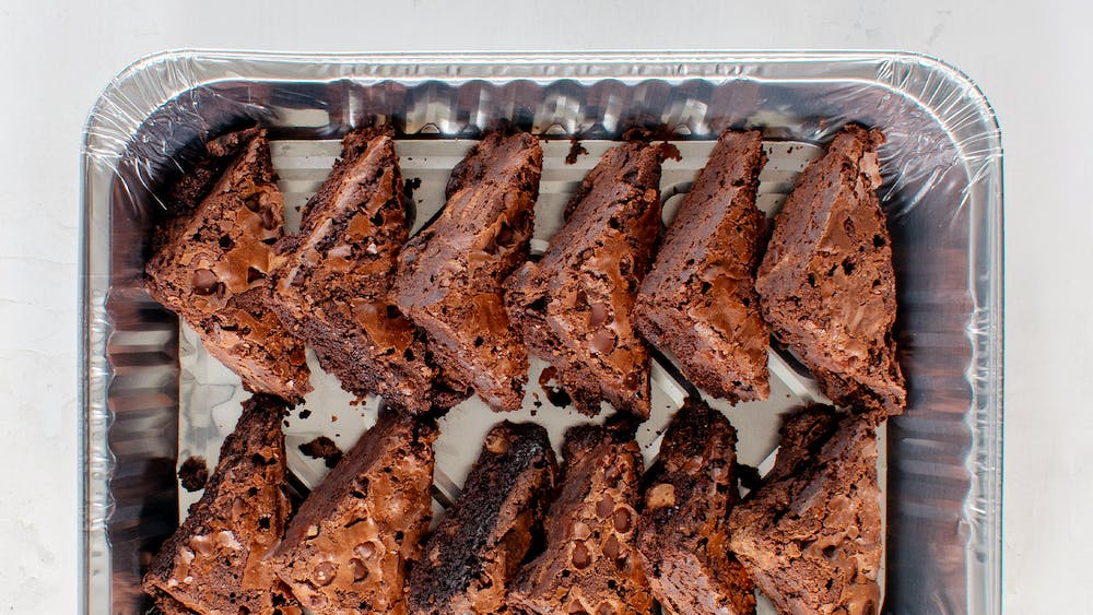 a tray of brownies