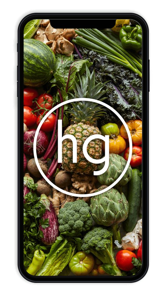 illustration of an iphone with a background of several vegetables