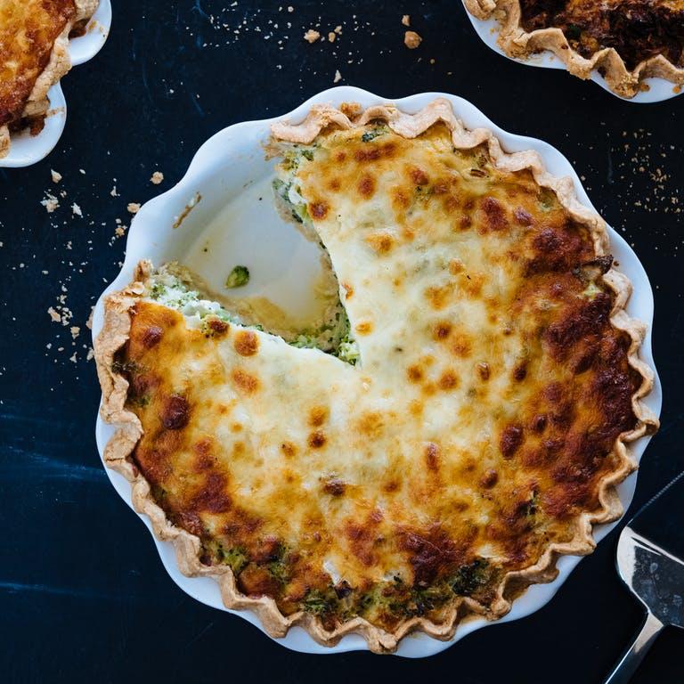 quiche pie with slice missing