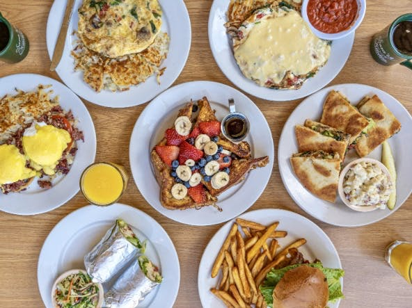 a table full of different types of food on a plate