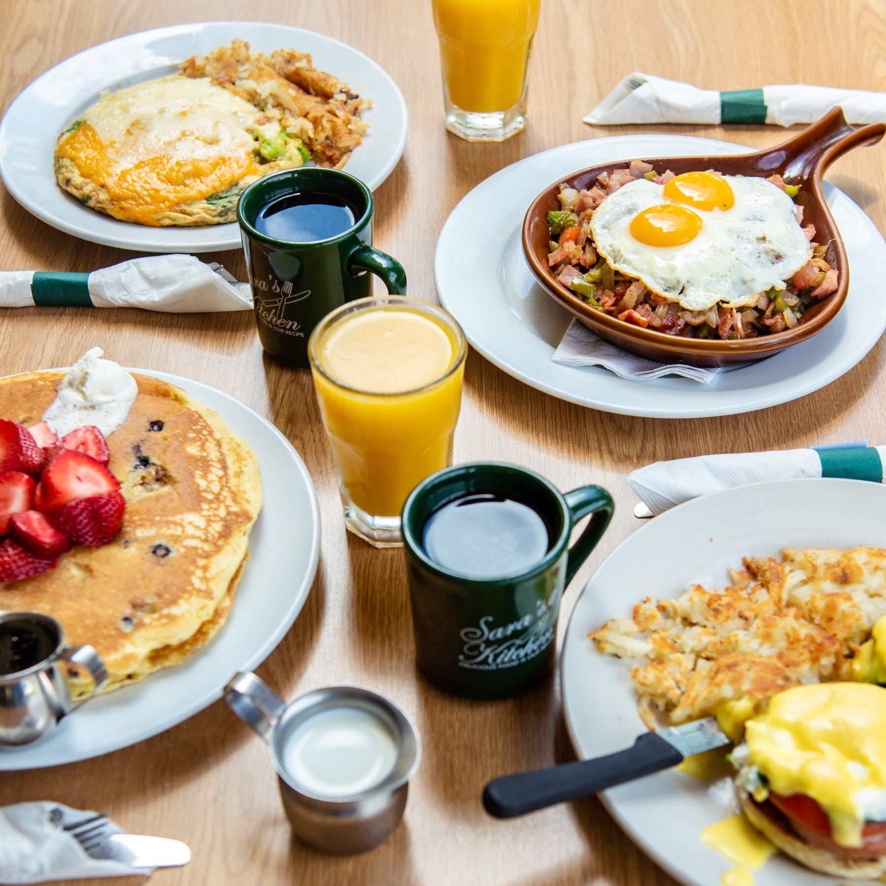 a plate of breakfast food is sitting on a table
