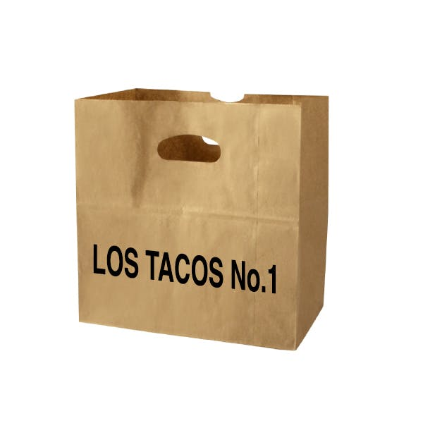 a bag with los tacos number one written on it