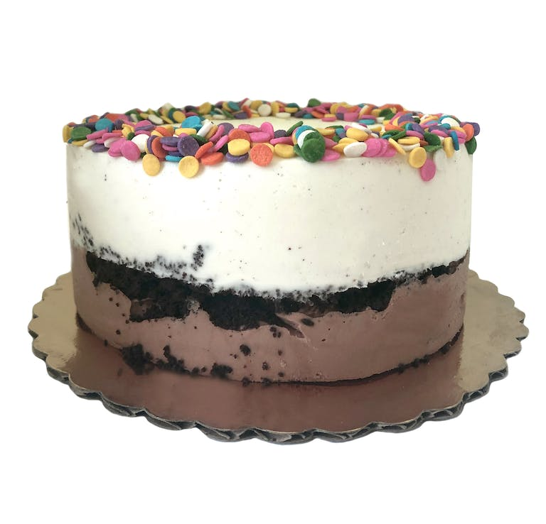 vanilla bean and classic chocolate ice cream cake