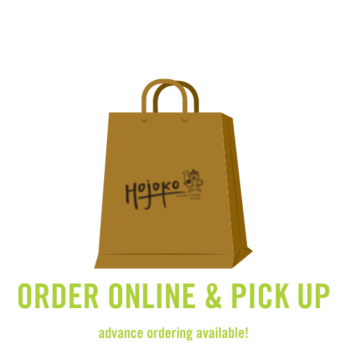 order online and pick up. picture of a takeout bag.