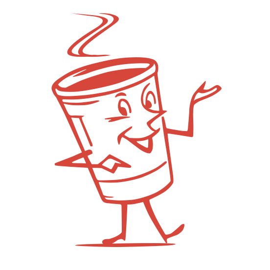 a coffee cup cartoon with face, arms and legs