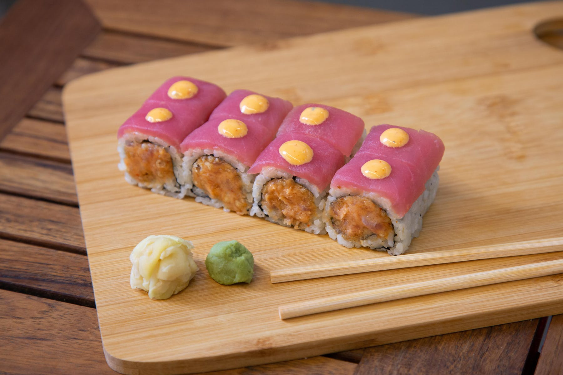 sushi on a wooden cutting board