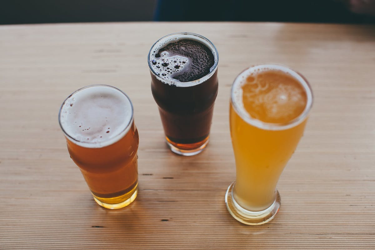 3 glasses with beer