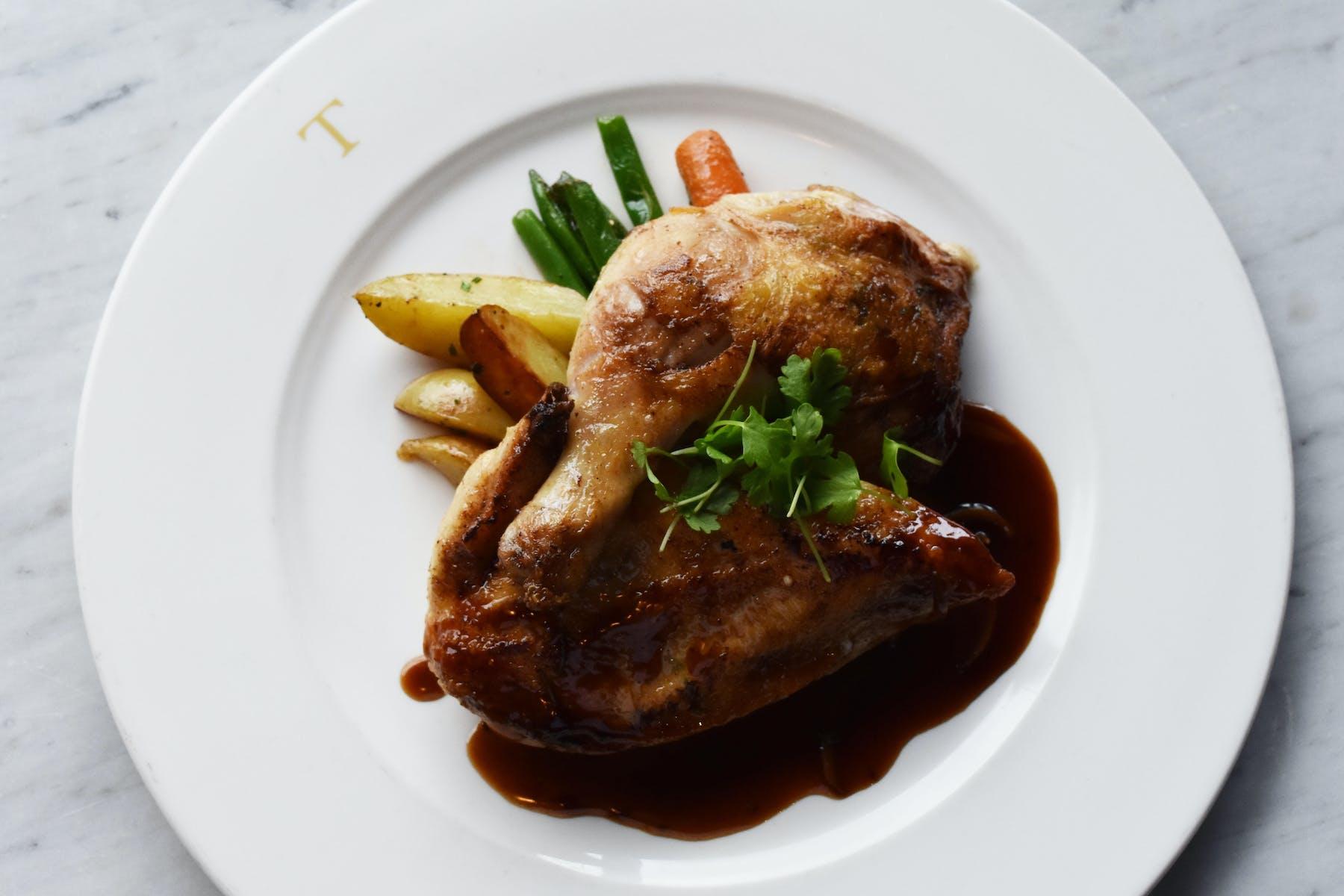 chicken with a dark sauce