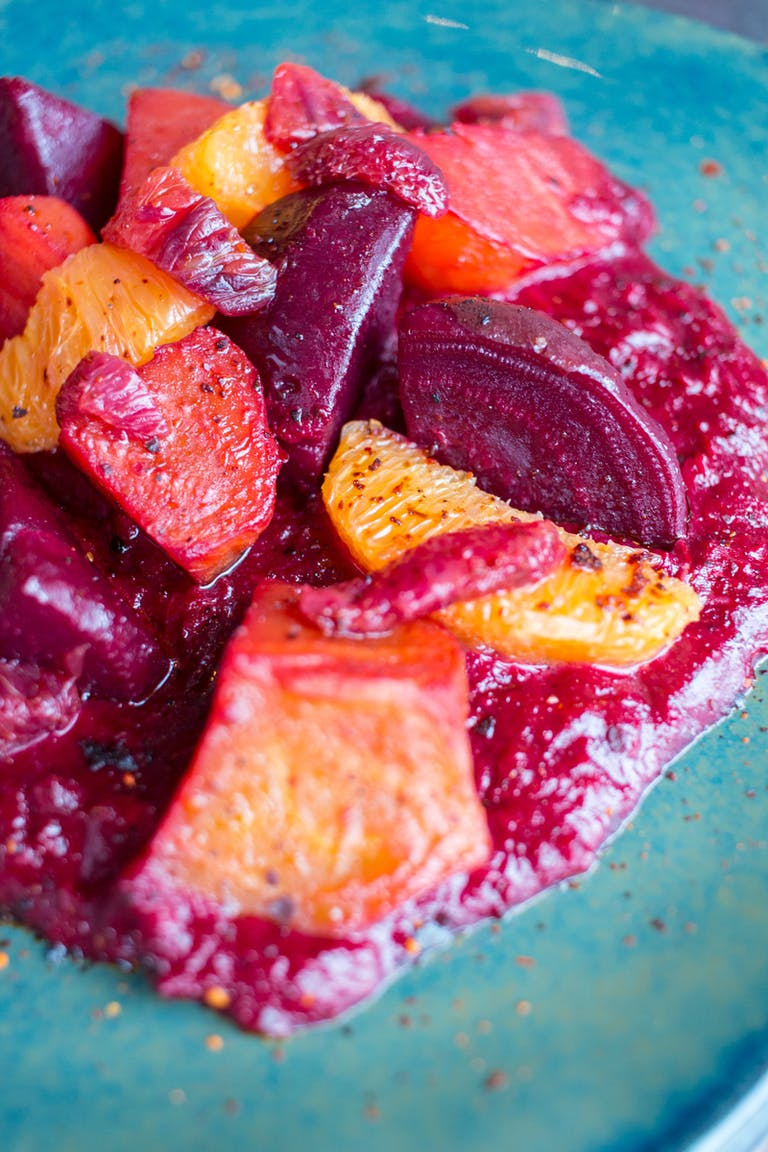 Beets in mole rosa