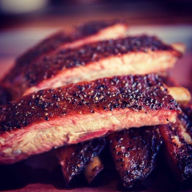 a close up of steak