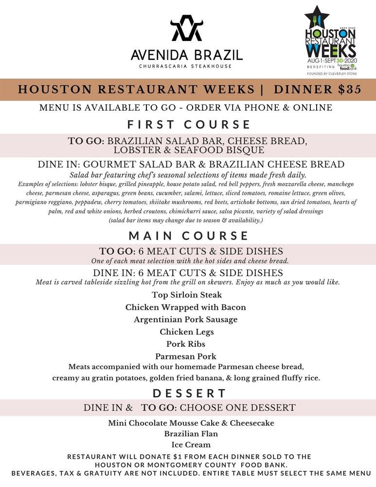 Avenida Brazil - Houston Restaurant Weeks 2020 Dinner Menu