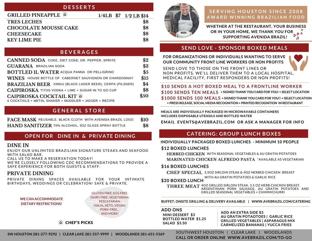 upscale Brazilian takeout menu - Avenida Brazil Churrascaria Steakhouse