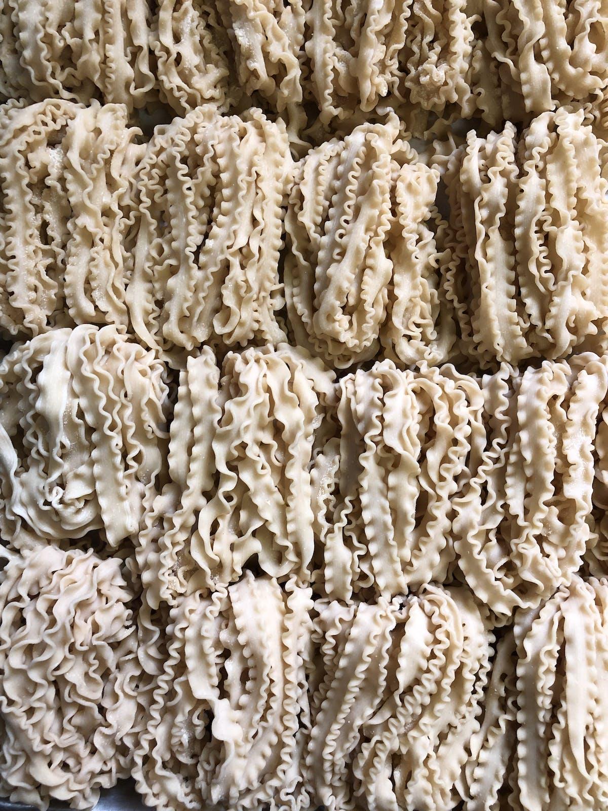 a close up of a pasta