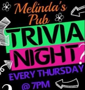 Trivia Night Wednesday at Melinda's Pub