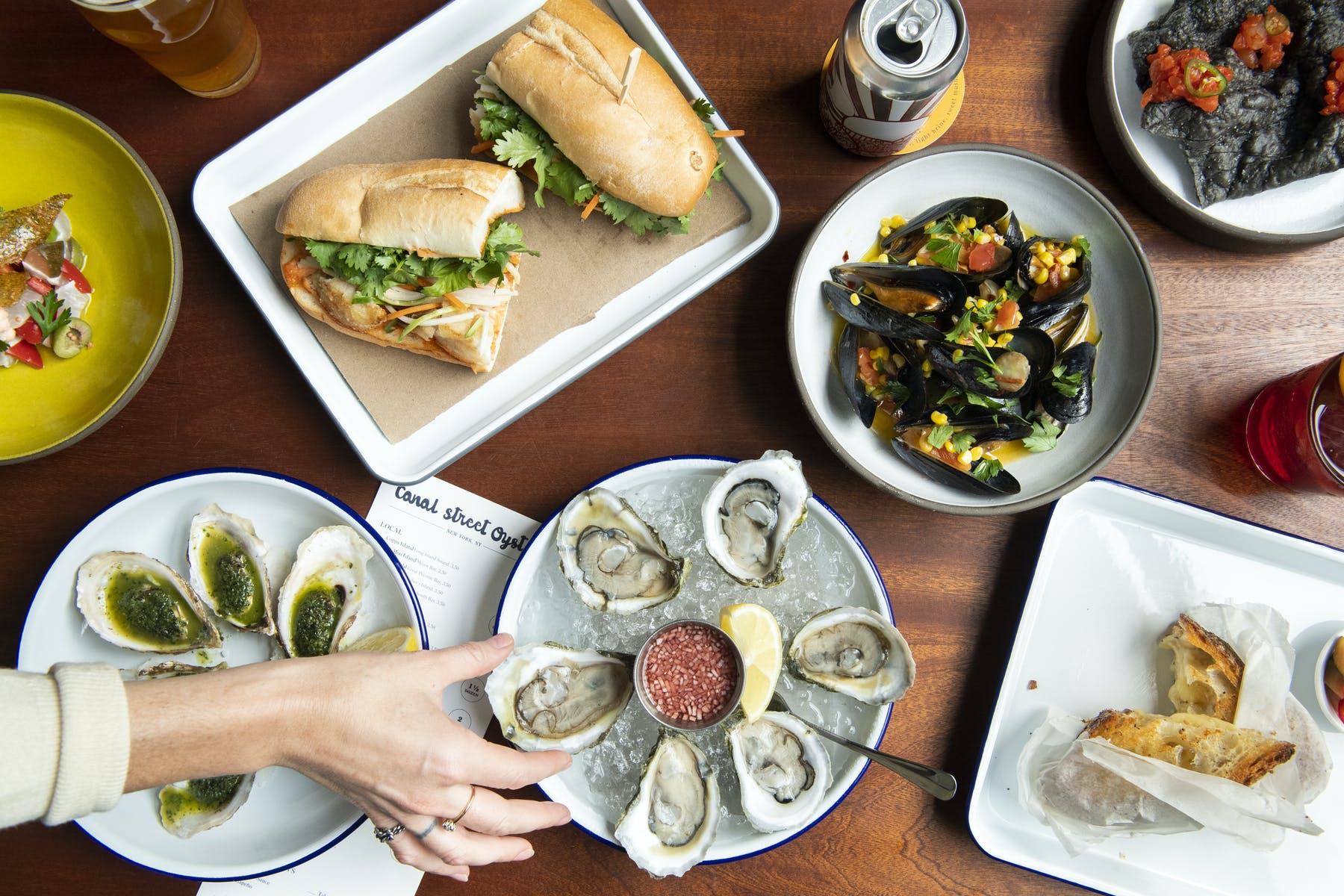 sandwich and oysters