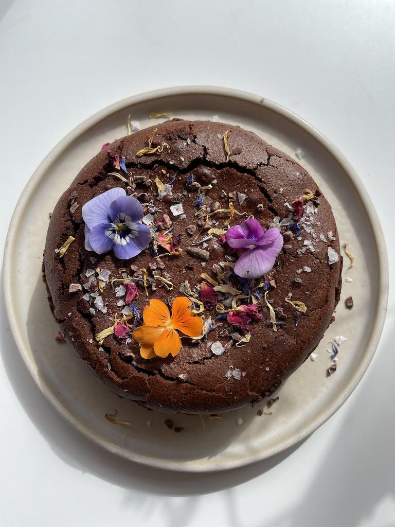a chocolate cake on a plate