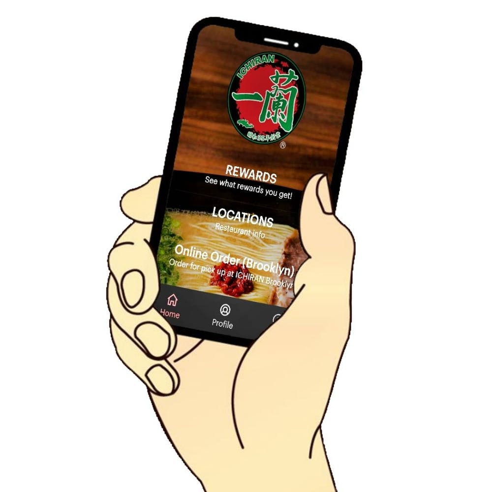 Illustration of hand holding a smartphone showing the new ICHIRAN web app