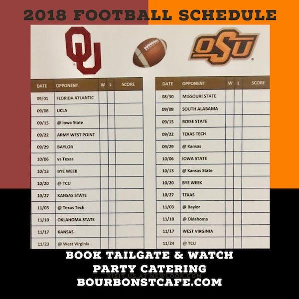 OU and OSU 2018 Football Schedule and Score Card