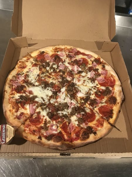 pizza on a box