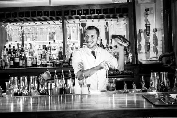 Bryan Schneider making drinks