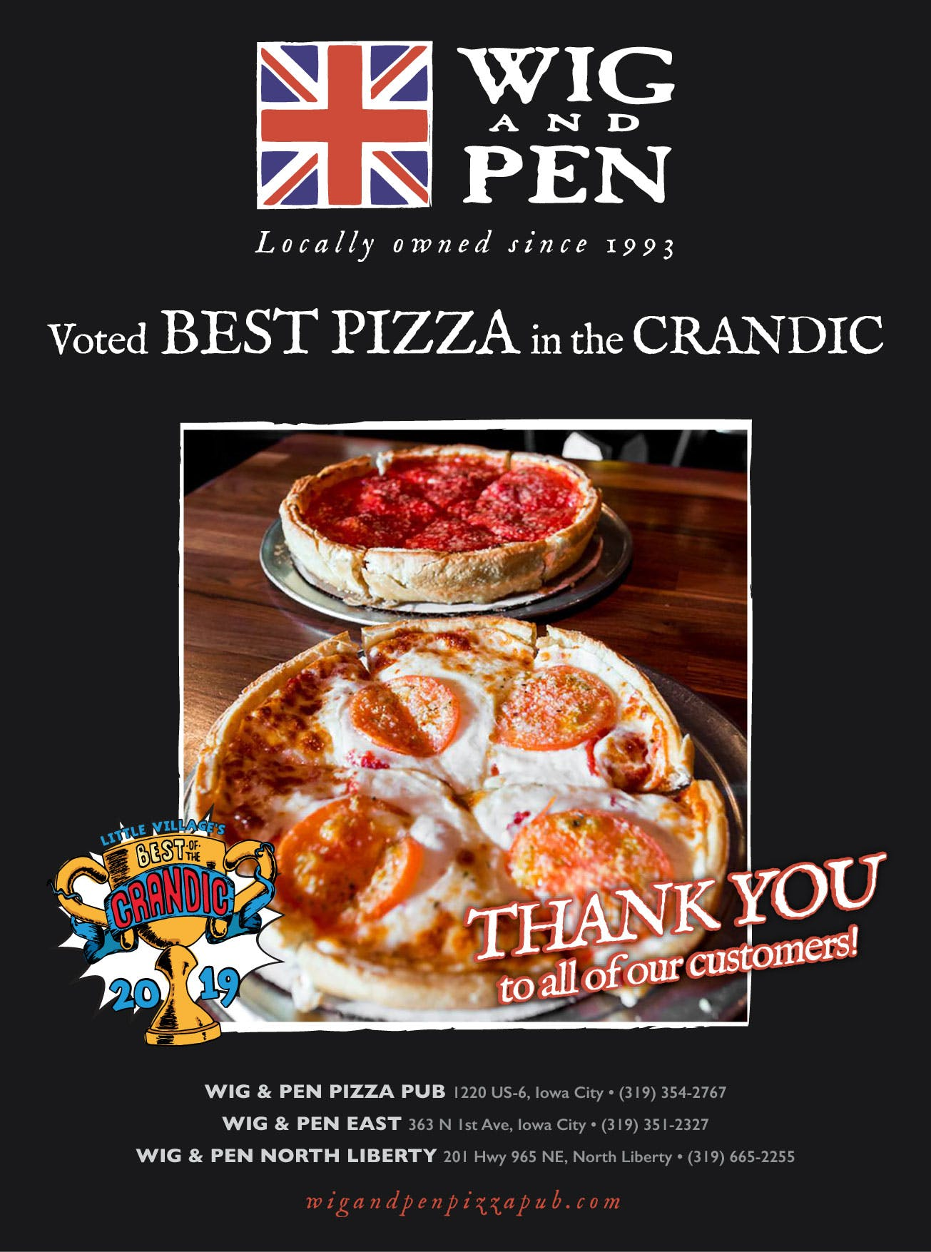Winner of Best Pizza in the Crandic 2019