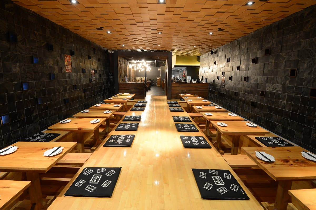 a long table in a room