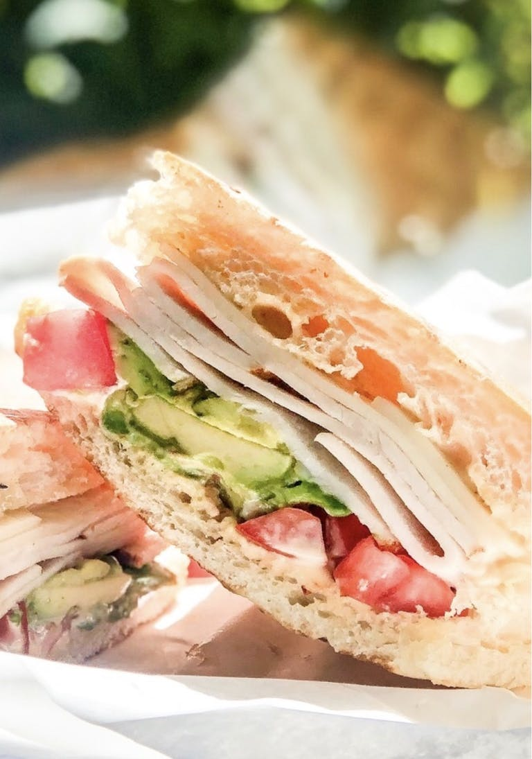 a close up of a sandwich on a plate
