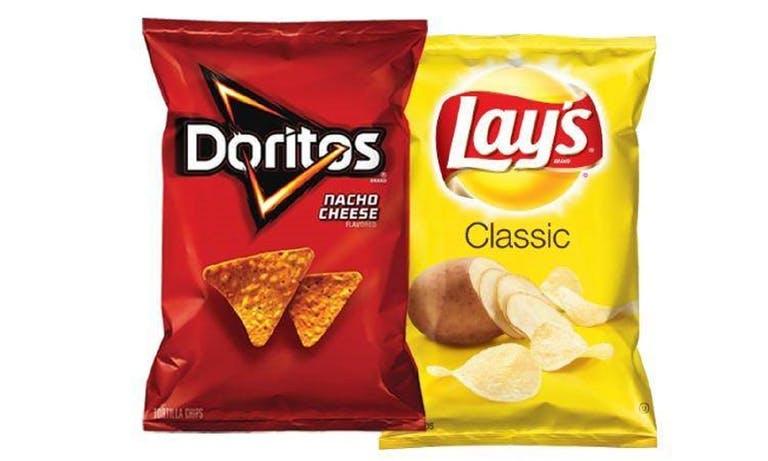 a close up of a chip bag