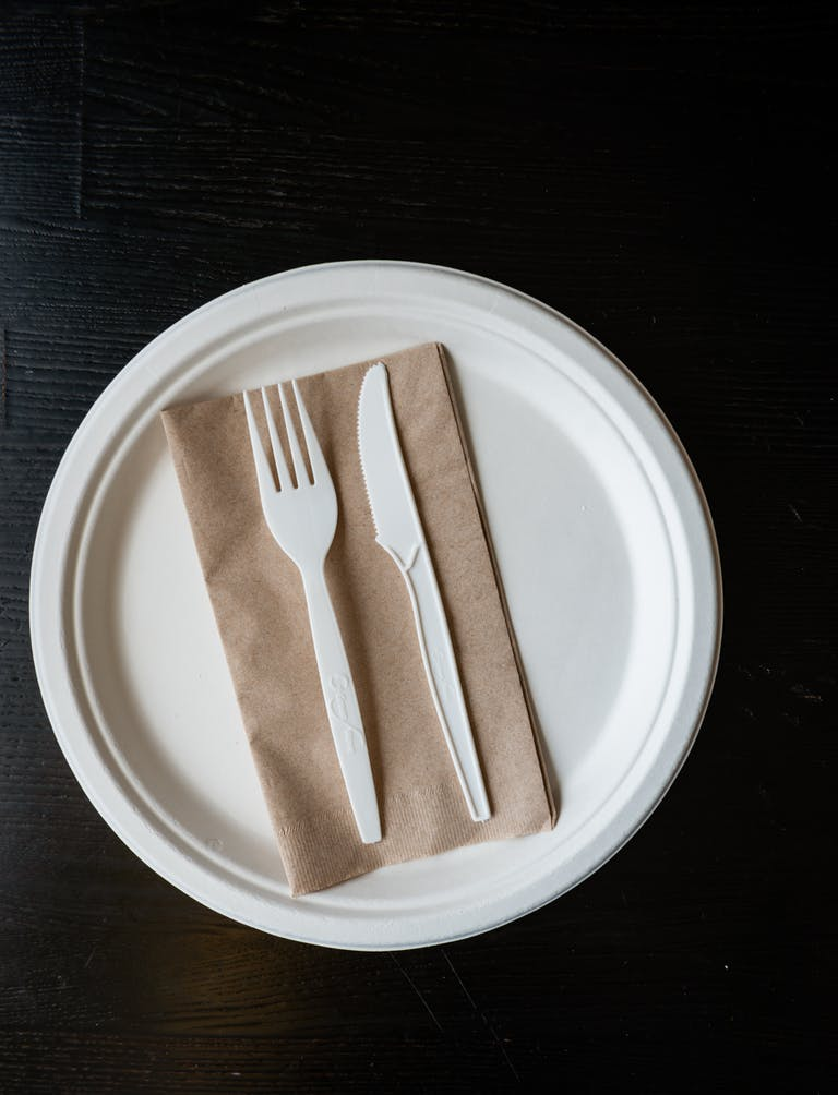 a plate with a fork and a cup of coffee