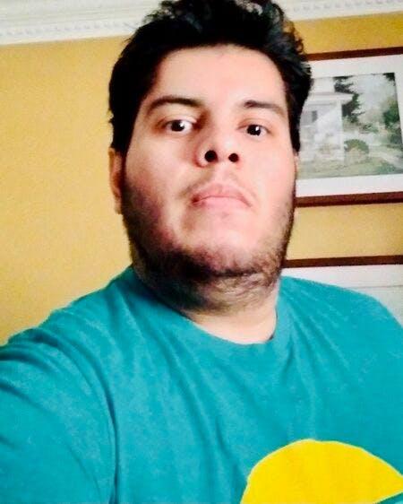 a man in a blue shirt