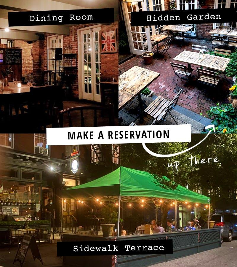 Jones Wood Foundry's dinner areas, Hidden Garden, terrace and dining room