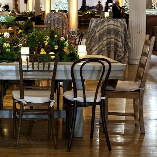 Chairs at a dining room table