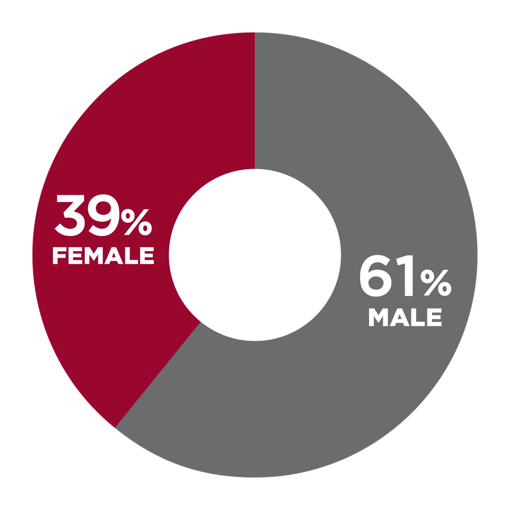 pie chart showing 39% Female, 61% Male