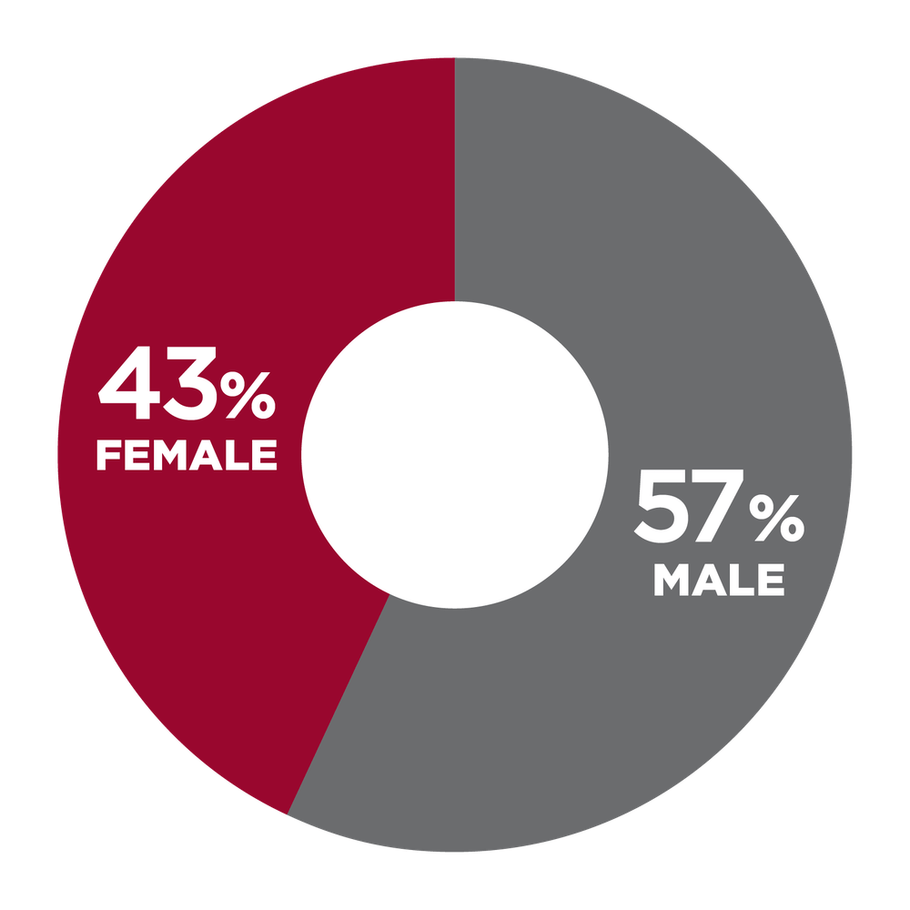 pie chart showing 43% Female, 57% Male
