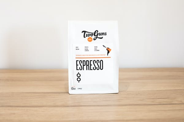 Photo of Espresso (Blend)  Start your day (and afternoon, and evening) with our smooth and flavorful espresso. On its own or with your favorite milk, this signature two-bean blend is the ultimate pick-me-up.