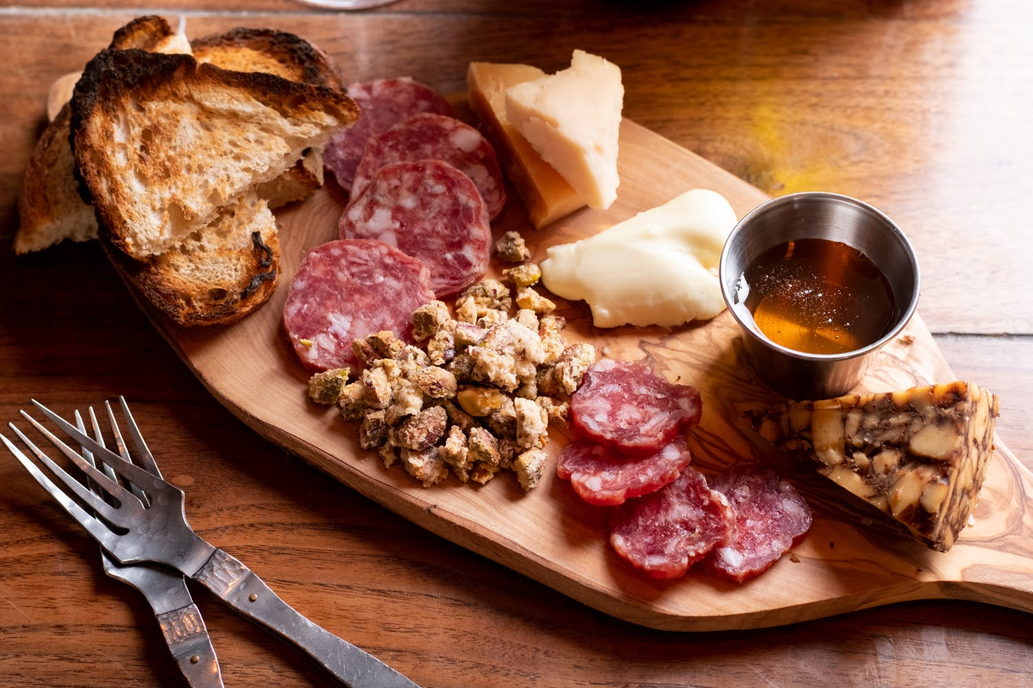 Meat and cheese board.