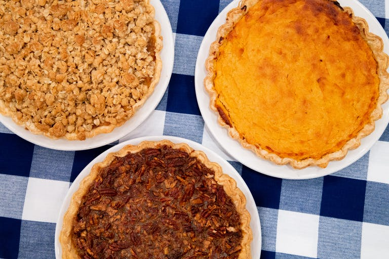 Three Thanksgiving Pies on a table
