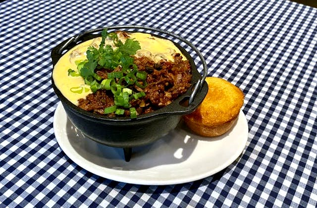 Texas Brisket Chili on a table