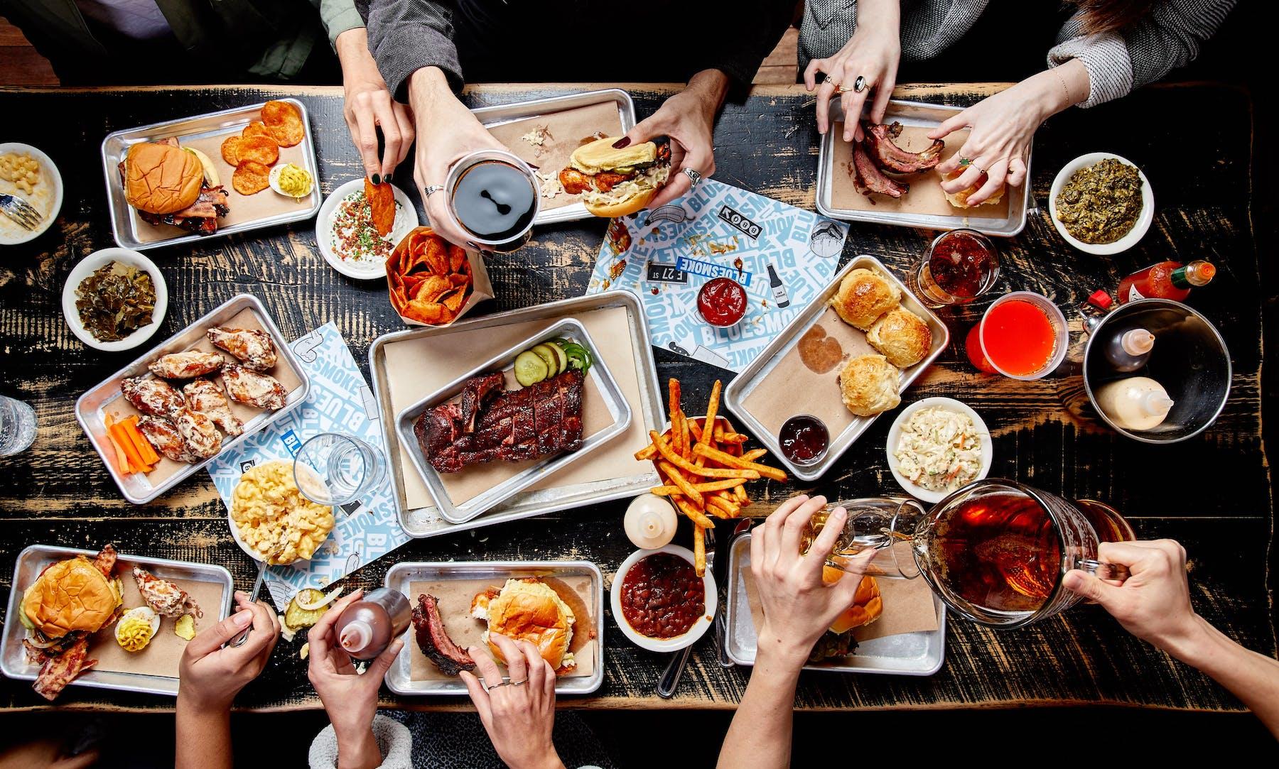 Group of people eating food