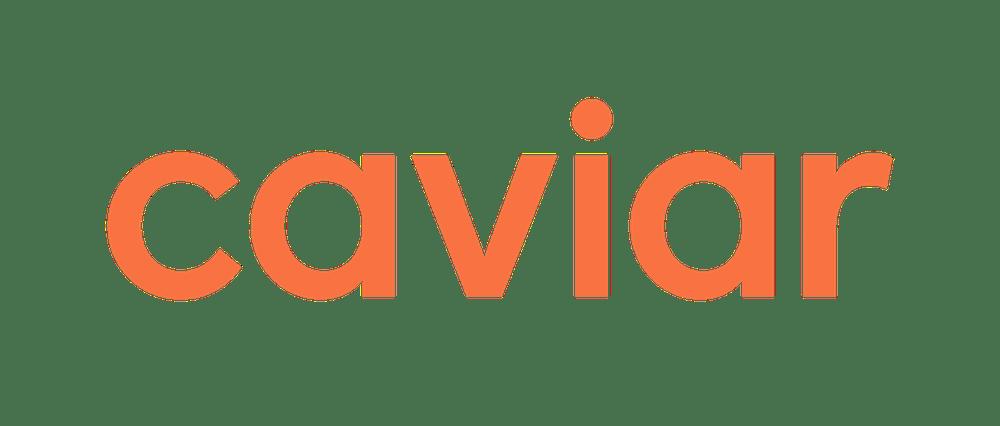 a close up of Caviar logo